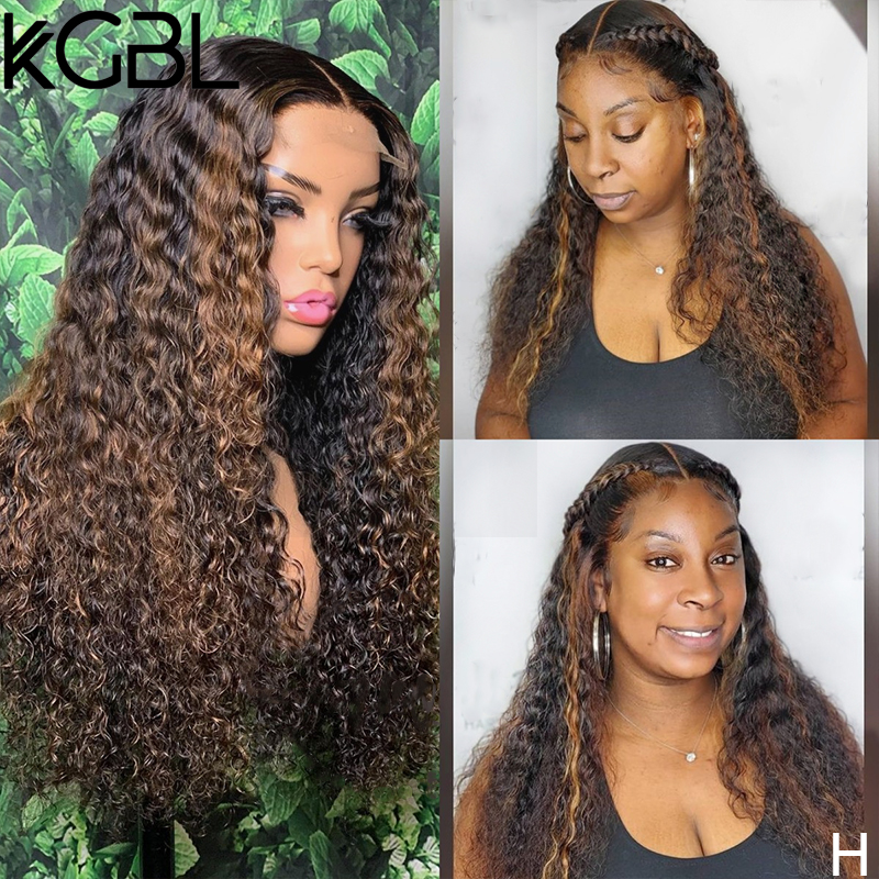 KGBL Highligh Curly 13x6 Lace Front Human Hair Wigs With Baby Hair Brazilian 150% 180% Density 8-24'' Non-Remy Wigs Medium Ratio