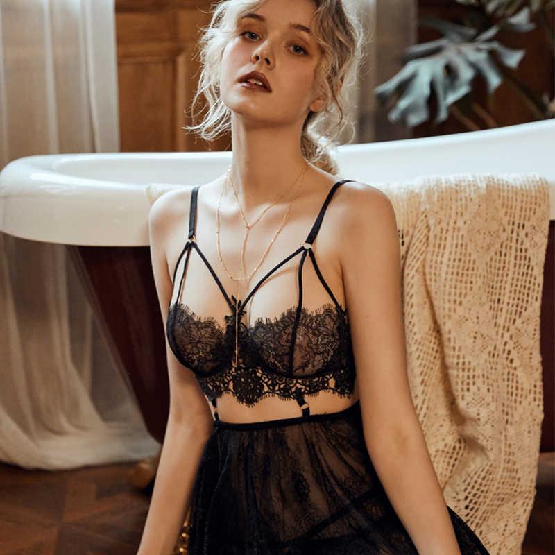 Seksowna bielizna backless kobiety odzież do snu nocne suknie z stringi zestawy dekolt w serek koronkowa młoda dziewczyna wzór w paski czarny biały czerwony nowość