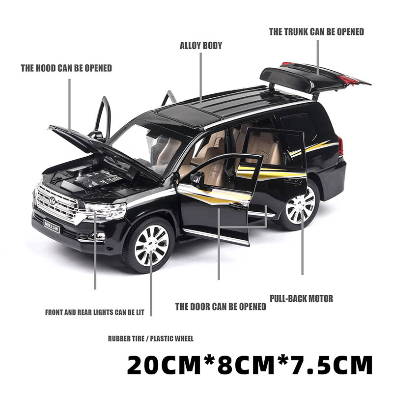 Diecast 1 24 Land Cruiser Model Toy SUV Car Metal Alloy Simulation Pull Back Cars Toys Vehicles For Kids Gifts For Children in Diecasts Toy Vehicles from Toys Hobbies