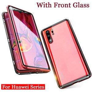 Переднее и заднее закаленное стекло + магнитный металлический чехол для Huawei P30 P20 Pro Lite Nova 3 3i 4 Honor 20 Pro 10 Lite 9X 8X P Smart 2019
