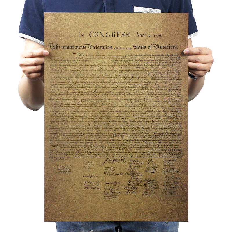 American Declaration Of Independence Vintage Kraft Paper Classic Movie Poster School Decor Garage Wall Decor Art  Retro Prints