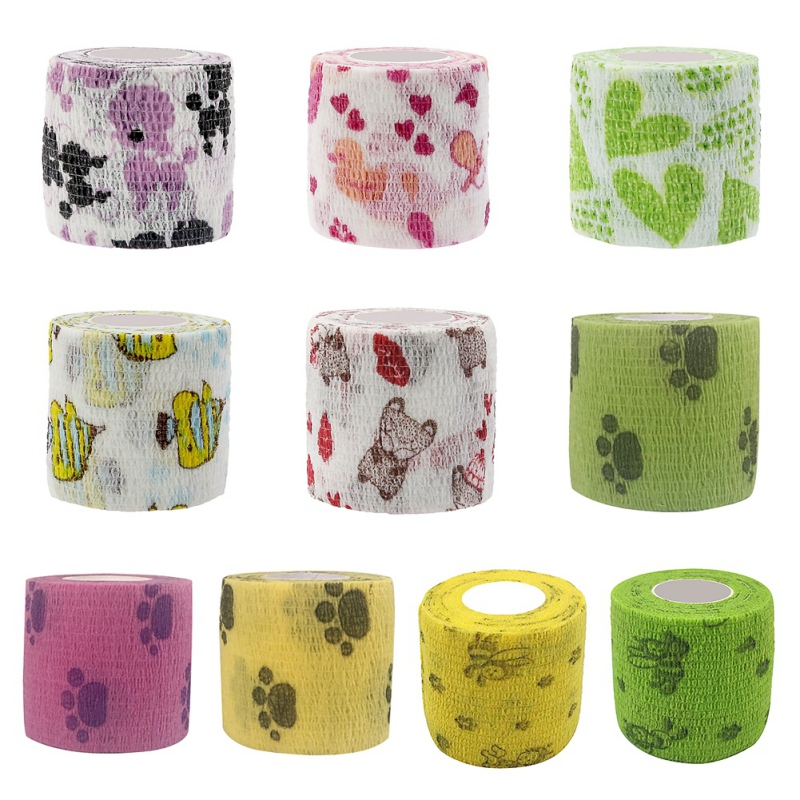 4.5m Colorful Cartoon Print Sport Self Adhesive Elastic Bandage Knee Support Pads Wrist Ankle Protector Palm Shoulder Wrap Tapes