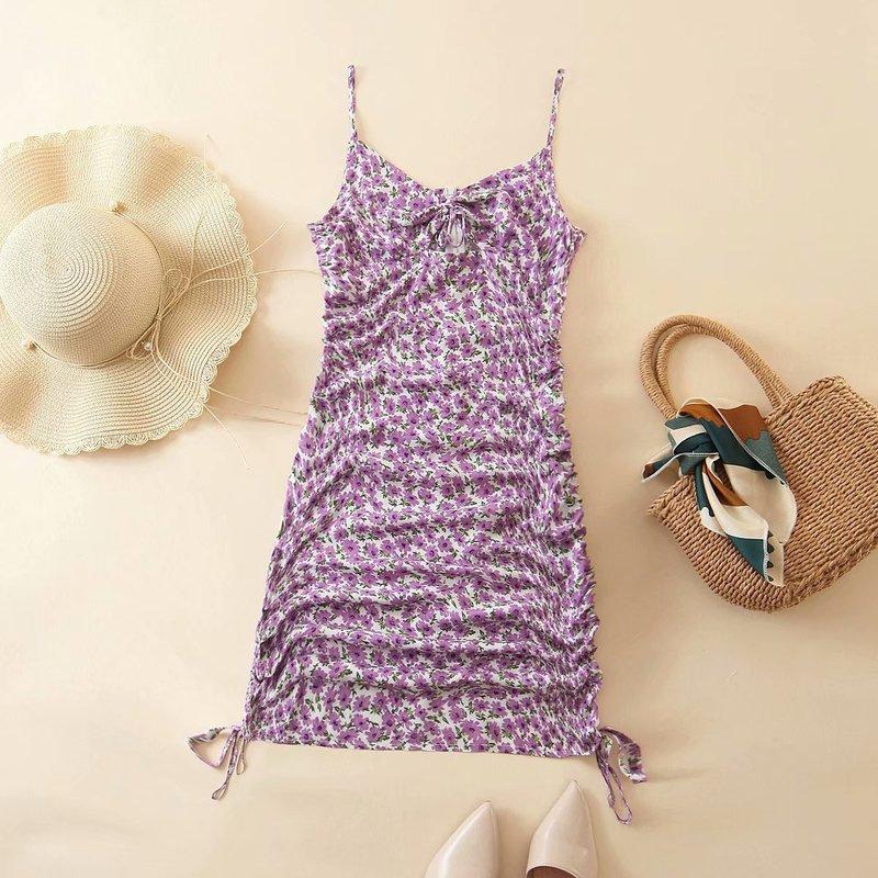Mode frauen edition kleid großhandel neue sommer 2020 XL - 2995 pflegen moral lila gedruckt saum linie mit schulter-straps