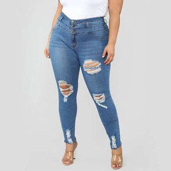 Women's 2021 New Fashional Casual Solid Color Holes Pockets Excoriation Three Breasted High-Waisted Slim Pencil Nine-cent Jeans 2