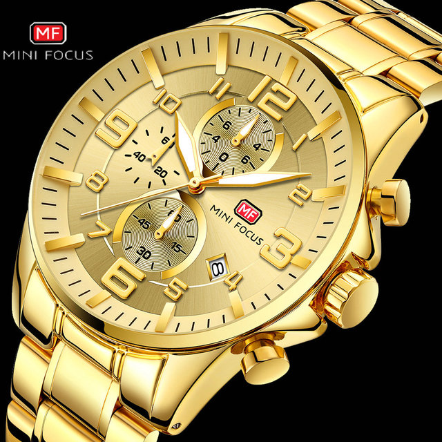 Mini foco real dos homens relógios marca superior de luxo militar quartzo à prova dwaterproof água cronógrafo aço inoxidável cinta relogio masculino