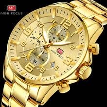 ミニフォーカス王室メンズ腕時計トップブランドの高級軍クォーツ防水クロノグラフステンレススチールウォッチストラップレロジオmasculino