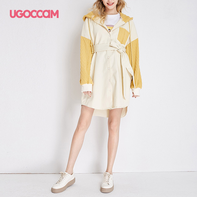 UGOCCAM Hooded Coat Yellow Women Coat Trench Oversize Splice Knitted Winter Windproof With Waistband Fashion Outwear Outdoor 10