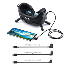 Cabo de dados para dji fpv óculos de proteção combinados v2 ios/tipo c/micro usb adaptador para ipad ar/mini iphone tablet zangão óculos acessórios