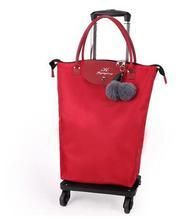 Nowe kobiety wózek podróżny torby damskie torby koła torby na kółkach torby bagażowe do samolotu na kółkach torby na zakupy Rolling torba na bagaż tanie tanio Oxford Wszechstronny 17cm Torby podróżne 30cm zipper Podróż skrzynki SOFT Moda 51cm Floral WOMEN