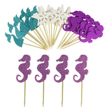24pcs Mermaid Cake Toppers Little Mermaid Birthday Cake Decor Baby 1st Birthday Party Decoration Under the Sea Party Babyshower