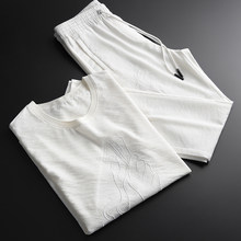 Summer Thin Mens (t-shirt+pants) Luxury Embroidery Short Sleeve Men Plus Size 4xl White Man Sets With Pants(China)