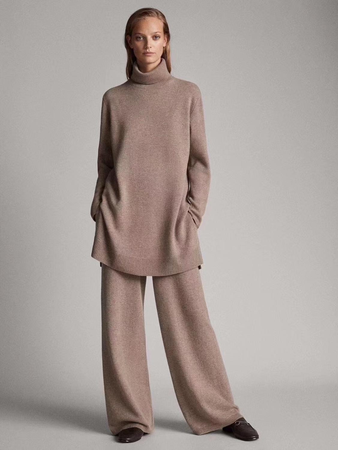 Luxury Two Pieces 45% Cashmere + 30% Wool Suits Female High Collar Warm Mink Cashmere Knit Tops +  Wide Leg Wool Pant Sets F688