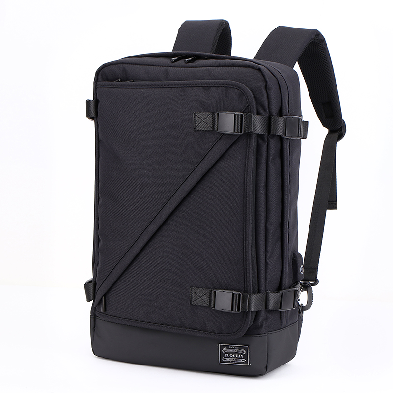 CAI Travel Backpack Unisex Business Canvas Back Bag Minimalism Hasp Laptop Side-Open Anti-Theft Belt Waterproof School Book