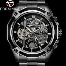 ساعة يد رجالية آلية من FORSINING ساعة رجالية رياضية عسكرية ساعة رجالية فاخرة بعلامة تجارية من الفولاذ المقاوم للصدأ ساعة رجالية بهيكل عظمي طراز 8130