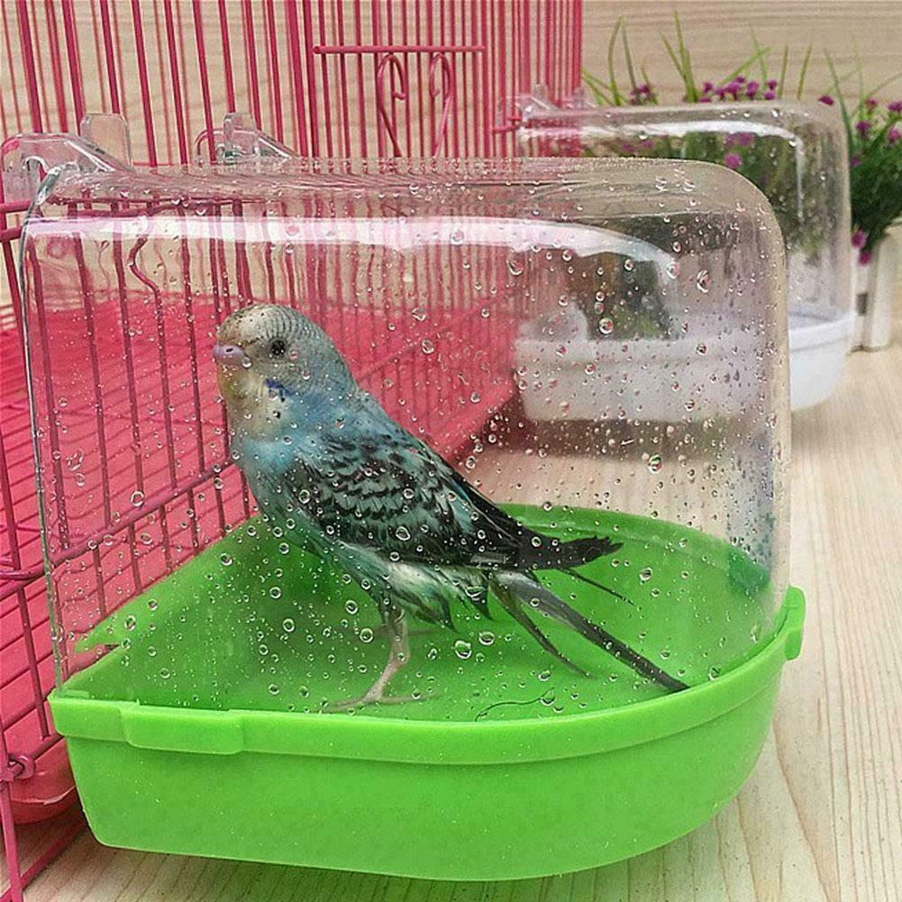 Plastic Bird Baths Box Water Dispenser Set Multi-Function Parrot Bathtub Box Wall-Mounted Shower Room Bird Cage Accessories