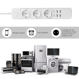 Image 4 - Smart Wifi multiprise protection contre les surtensions prises multiples 4 ports USB minuterie voix sans fil télécommande par Echo Alexa Google Home