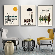 The Morning of City London New York Vintage Poster Art Canvas Painting Wall Picture Print Modern Home Room Decoration Unframed the morning of city london new york vintage poster art canvas painting wall picture print modern home room decoration unframed