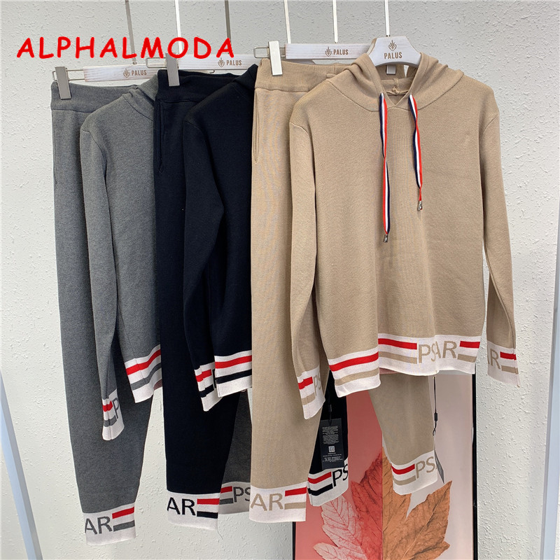ALPHALMODA 2019 Autumn Winter New Hooded Long-sleeved Sweater + Pants Women 2pcs Casual Tracksuits Striped Letter Pattern Set