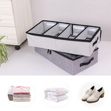 Useful Hot Foldable Storage Box For Shoes Wardrobe Closet Organizer Sock Bra Underwear Cotton Storage Bag Under Bed Organizador