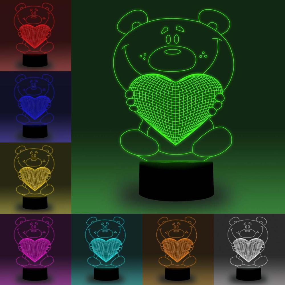 NiteApps 3D Funny Bear With Heart LED Night Light Desk Table Illusion Lamp Holiday Birthday Gift APP/Touch Control