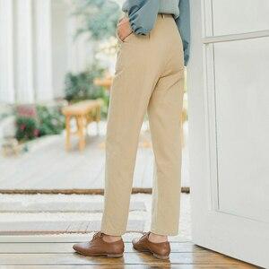 Image 2 - INMAN 2020 printemps nouveauté littéraire rétro taille moyenne cordon droit lâche femmes pantalon
