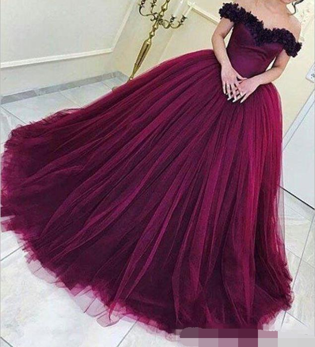2019 Arabic Burgundy Ball Gown Princess Quinceanera Dresses off the shoulder masquerade Backless Long Prom Dresses sweet 16