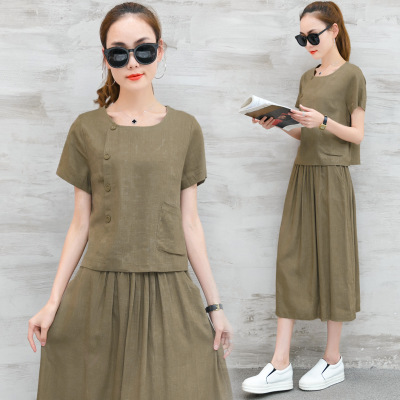 2017 Summer New Style South Korea Cotton Linen WOMEN'S Suit Mid-length Retro Flax Full Body Dress