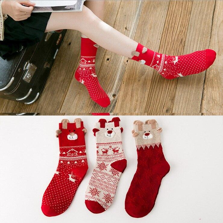 1 Pair Winter Women Socks Warm Wool Christmas Mid-calf Socks Woolen Snowflake Deer Comfortable Gift Girls Cute Meias