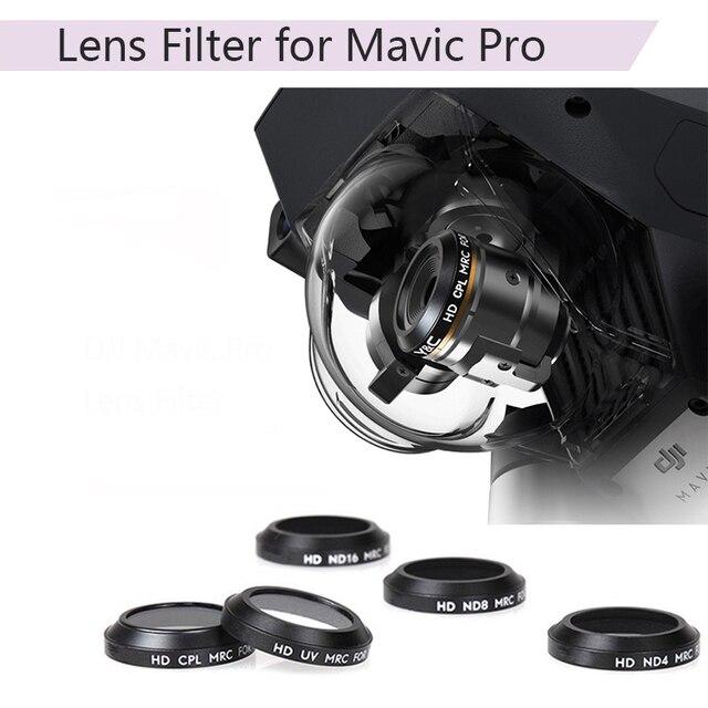 Uv cpl nd4 nd8 nd16 filtro de lente para dji mavic pro platinum drone câmera lente cor gradual filtro azul vermelho laranja cinza peças