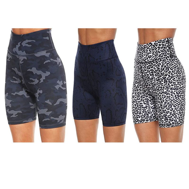 Womens High Waist Workout Biker Shorts Leopard Camo Snakeskin Tummy Control Butt Lift Running Leggings Short Pants 1