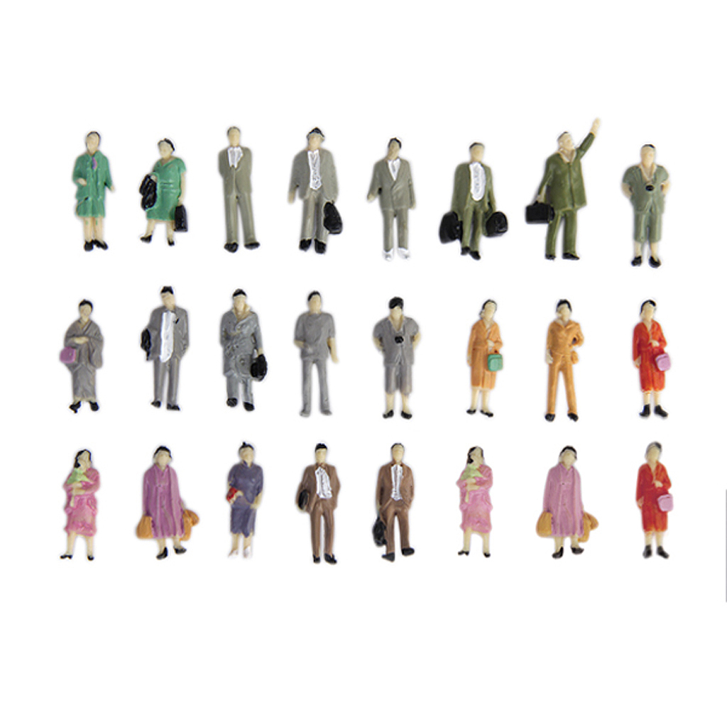 24pcs People Figurines 1:87 Scale Painted Figures O Scale Standing People For Miniature