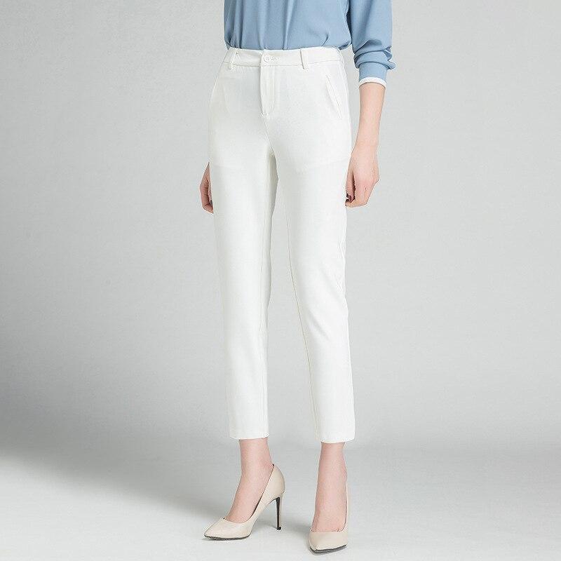2020 Summer Spring Winter Women Pants High Waist Loose Formal Elegant Office Lady Ankle-Length With Belt Pants
