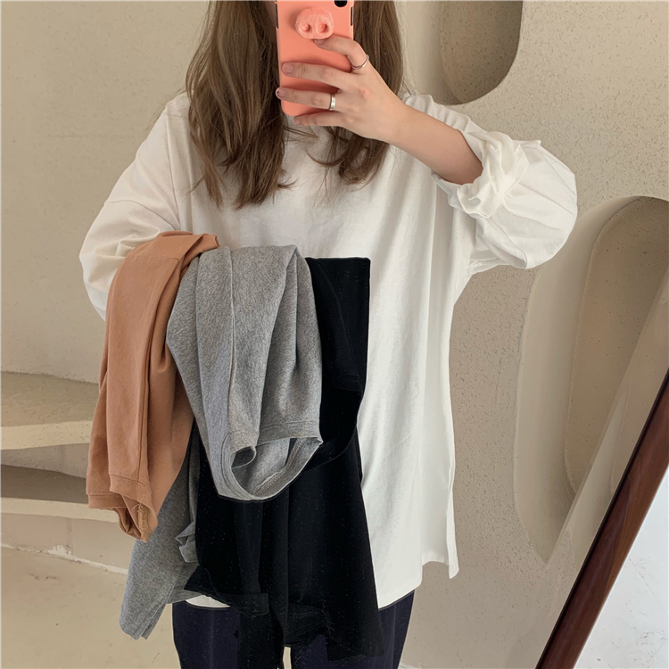 Colorfaith New 2020 Women Spring Loose T-Shirts Solid Bottoming Long Sleeve Casual Korean Minimalist Style Triko Tops Tees T601 4