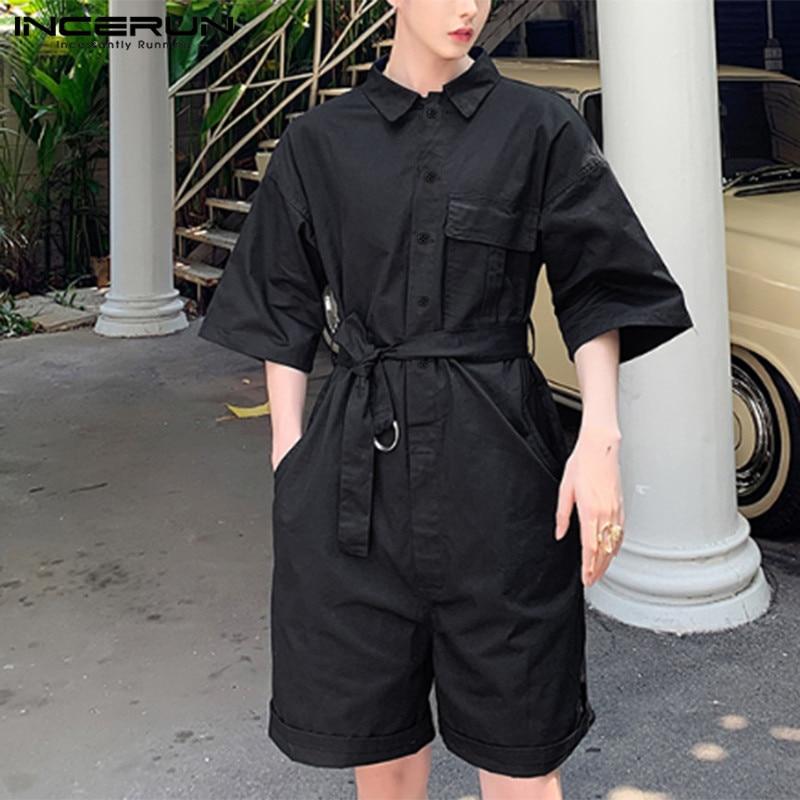 Men Rompers Cotton Linen Button Pants Cargo Overalls Oversize Jumpsuit Trousers