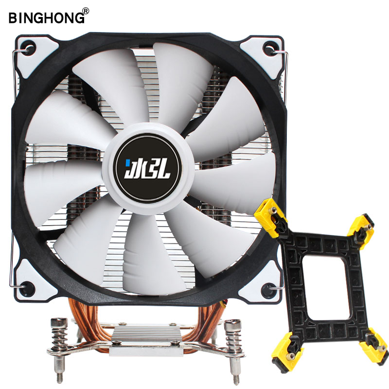 Radiator 4 Heat Pipes Cpu cooler 120mm RGB with PWM CPU Cooling fan heat sink For Intel LGA 775 1150 1151 1155 1366 PC Quiet image