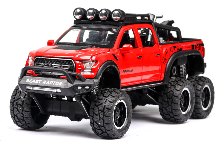 New 1:32 Ford Raptor F150 Big Wheel Alloy Diecast Car Model With With Sound Light Pull Back Car Toys For Children Xmas Gifts 3