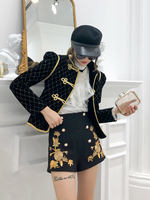 Baroque Style Gold Embroidery Buttons Short Velvet Jacket Coat Women Winter Stand Collar Black Plaid Casual Baseball Jacket