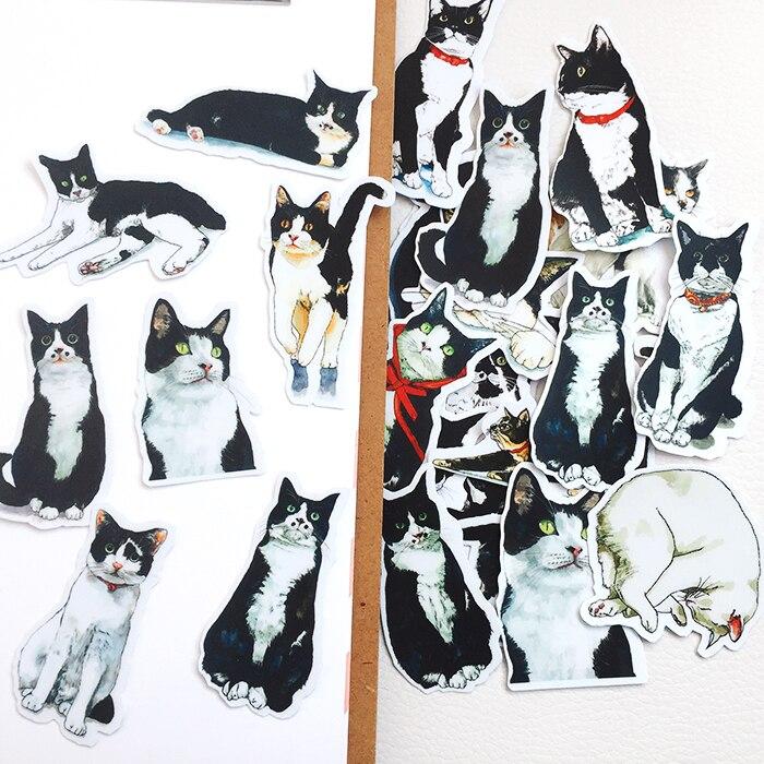 22Pcs/Set Retro Cartoon Cute Black Cat Sticker DIY Craft Scrapbooking Album Junk Journal Happy Planner Decorative Stickers