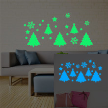 Luminous Home Christmas Tree Snowflake Christmas Wall Stickers Glow In The DIY Decal Fluorescent Home Decor for Mural Stickers removable diy home decor christmas tree wall stickers