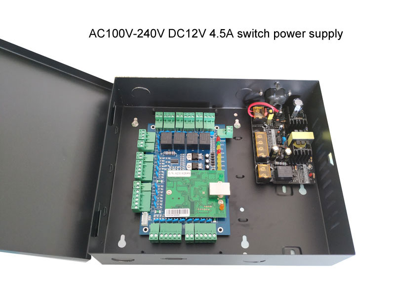 TCP/IP Four Door one Way Access Control Panel with Power Supply Box With Battery AC110V/220V support wiegand reader sn:L04_set