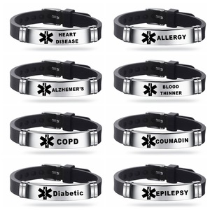 Men's Medical Alert ID Silicone Bracelet