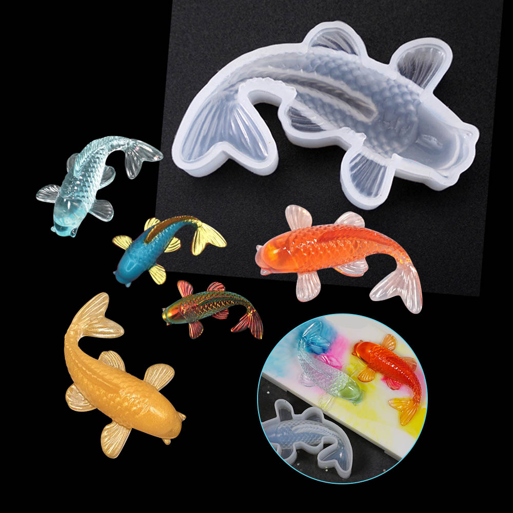1pc Fish Tail Koi Silicone Resin Mold Jewelry Fishtail UV Epoxy Resina Mold For DIY Pendant Charms Making Jewelry