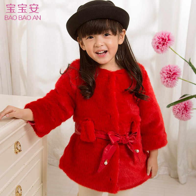 Koreaanse versie van de tij meisje kinderkleding dikke dikke lange pluche shirt kinderen vrouwelijke bontjas