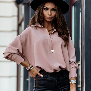 Women Fashion Pullover Blouses Casual Turn-down Collar Lantern Sleeve Solid Buttons Shirt Plus Size Office Ladies Autumn