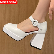 MORAZORA 2021 New Patent Genuine Leather Shoes Woman Square High Heels Platform Shoes Spring Summer Ladies Party Wedding Shoes