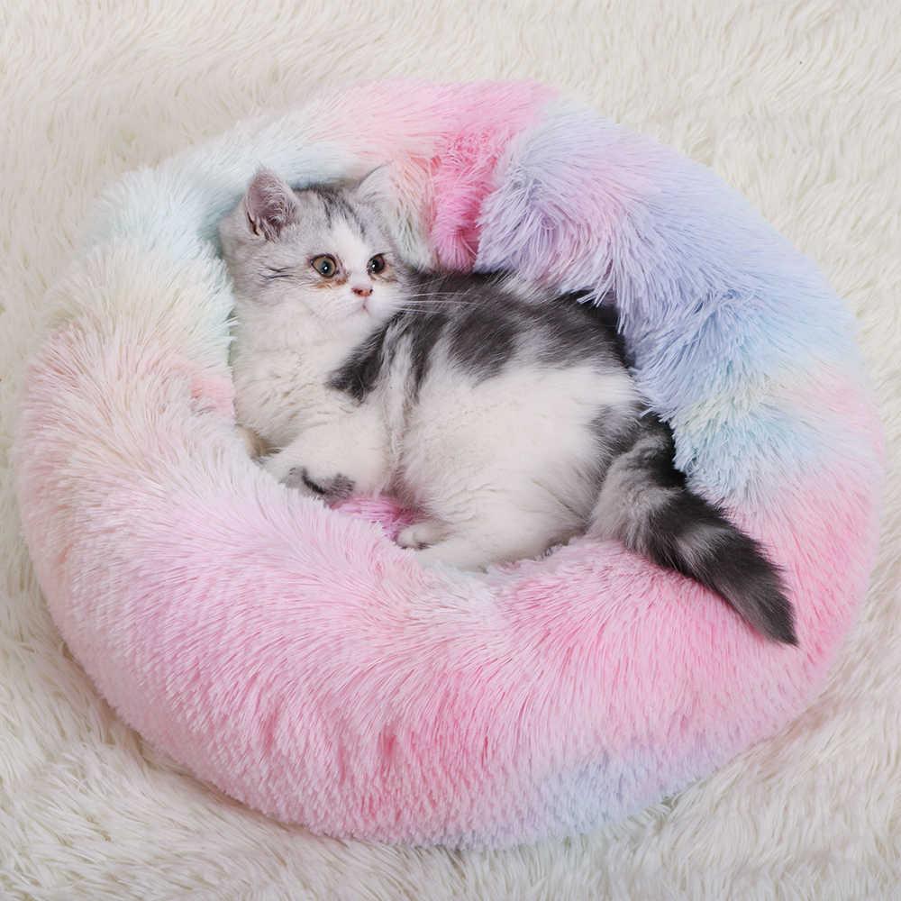 מלונה לחיות מחמד כלב מיטת כלב חם בית רך עגול כלב מיטת ארוך קטיפה גור כרית קן נוח לחיות מחמד מיטה