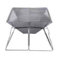 Stainless Steel Outdoor Charcoal Bbq Grill Rack Folding Bbq Barbecue Accessories Portable Home Kitchen Camping Cooking Tools