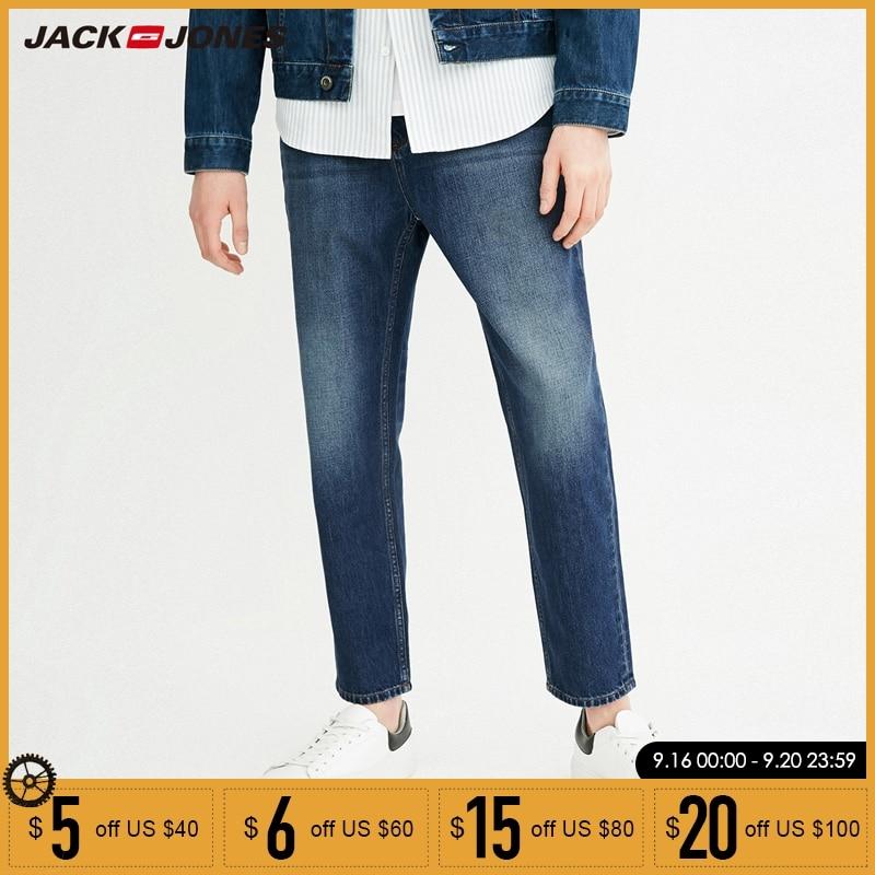 Jack Jones Spring Autumn New Men 100% Cotton  Straight Fit Washed Jeans Pants|218132550