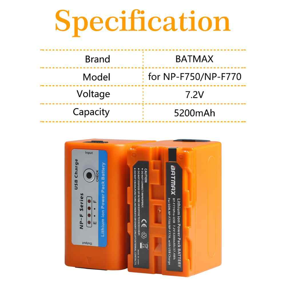 4Pcs 5200mAH Uscita USB NP-F750 NP F750 F730 F770 Batteria Indicatore di Potere del LED per Sony NP F960 F970 NP-F770 CCD-TRV58 V1J z1