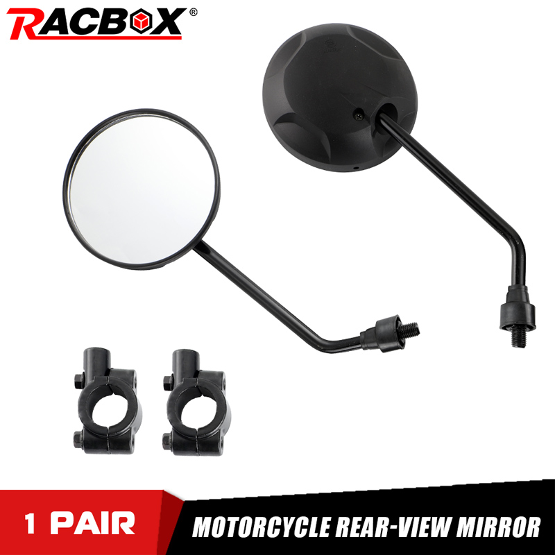 Racbox Universal Motocycle Mirrors with 22mm Handle Bar Mirrors Mount Handlebar Bar End 10mm Screws Motorcycle Side Mirrors